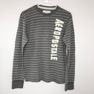 AEROPOSTALE Grey White Striped Thermal Sweater
